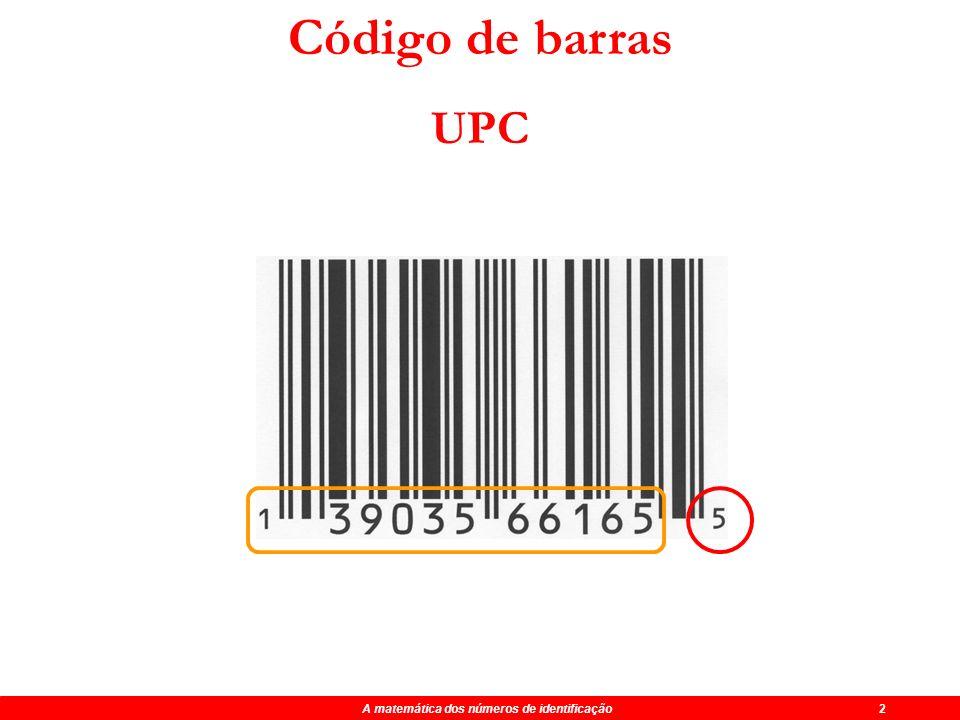 Código de barras UPC A matemática dos números de identificação 2