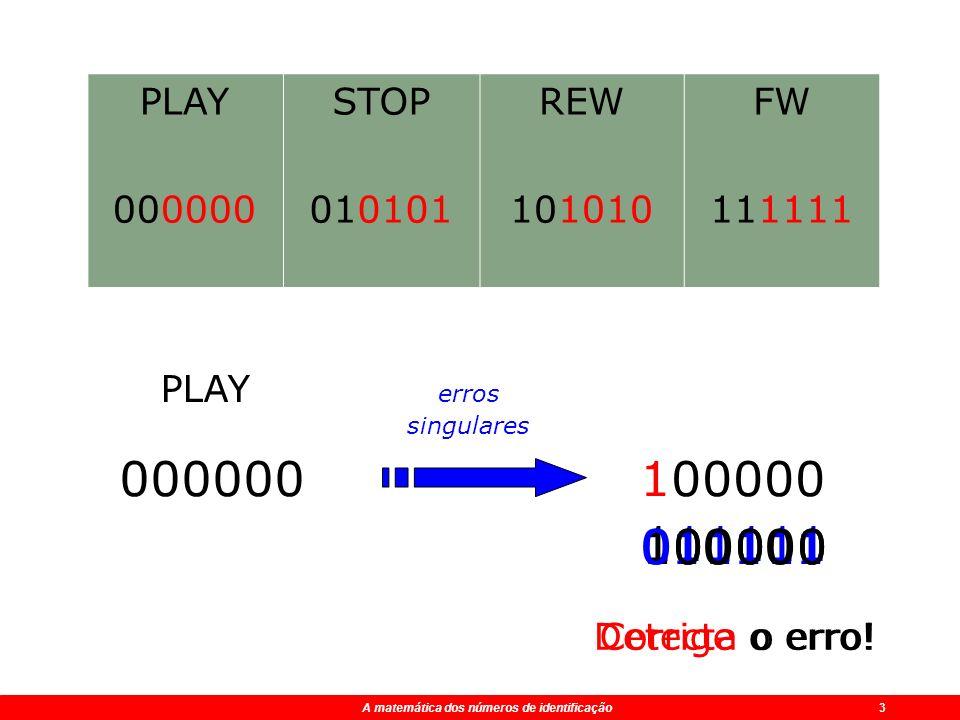 A matemática dos números de identificação 2 A matemática dos números de identificação 3 PLAY 000000 STOP 010101 REW 101010 FW 111111 000000100000 PLAY Corrige o erro.