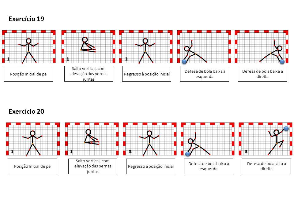1 1 Posição Inicial de pé Salto vertical, com elevação das pernas juntas Defesa de bola baixa à esquerda Defesa de bola baixa à direita 3 5 Exercício 19 Regresso à posição inicial Posição Inicial de pé Salto vertical, com elevação das pernas juntas Defesa de bola baixa à esquerda Defesa de bola alta à direita 3 Exercício 20 Regresso à posição inicial 1 1