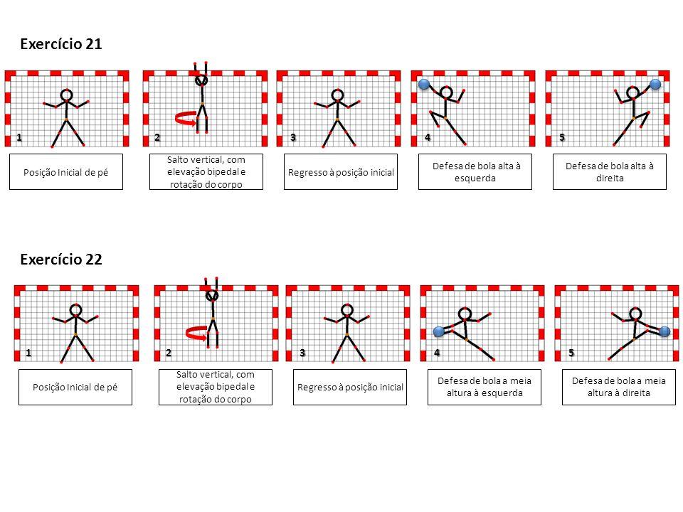1 4 1 Posição Inicial de pé Salto vertical, com elevação bipedal e rotação do corpo Defesa de bola alta à esquerda Defesa de bola alta à direita 345 Exercício 21 Regresso à posição inicial Posição Inicial de pé Salto vertical, com elevação bipedal e rotação do corpo Defesa de bola a meia altura à esquerda Defesa de bola a meia altura à direita 35 Exercício 22 Regresso à posição inicial 2 2