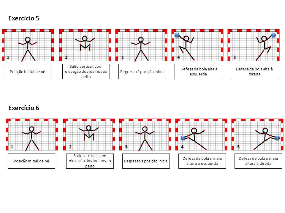 1 1 Posição Inicial de pé Salto vertical, com elevação dos joelhos ao peito Defesa de bola baixa à esquerda Defesa de bola baixa à direita 3 5 Exercício 7 Regresso à posição inicial Posição Inicial de pé Salto vertical, com elevação dos joelhos ao peito Defesa de bola baixa à esquerda Defesa de bola alta à direita 3 Exercício 8 Regresso à posição inicial 2 2