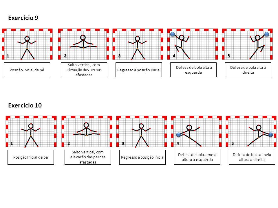 1 4 1 Posição Inicial de pé Salto vertical, com elevação das pernas afastadas Defesa de bola alta à esquerda Defesa de bola alta à direita 345 Exercício 9 Regresso à posição inicial Posição Inicial de pé Salto vertical, com elevação das pernas afastadas Defesa de bola a meia altura à esquerda Defesa de bola a meia altura à direita 35 Exercício 10 Regresso à posição inicial 2 2