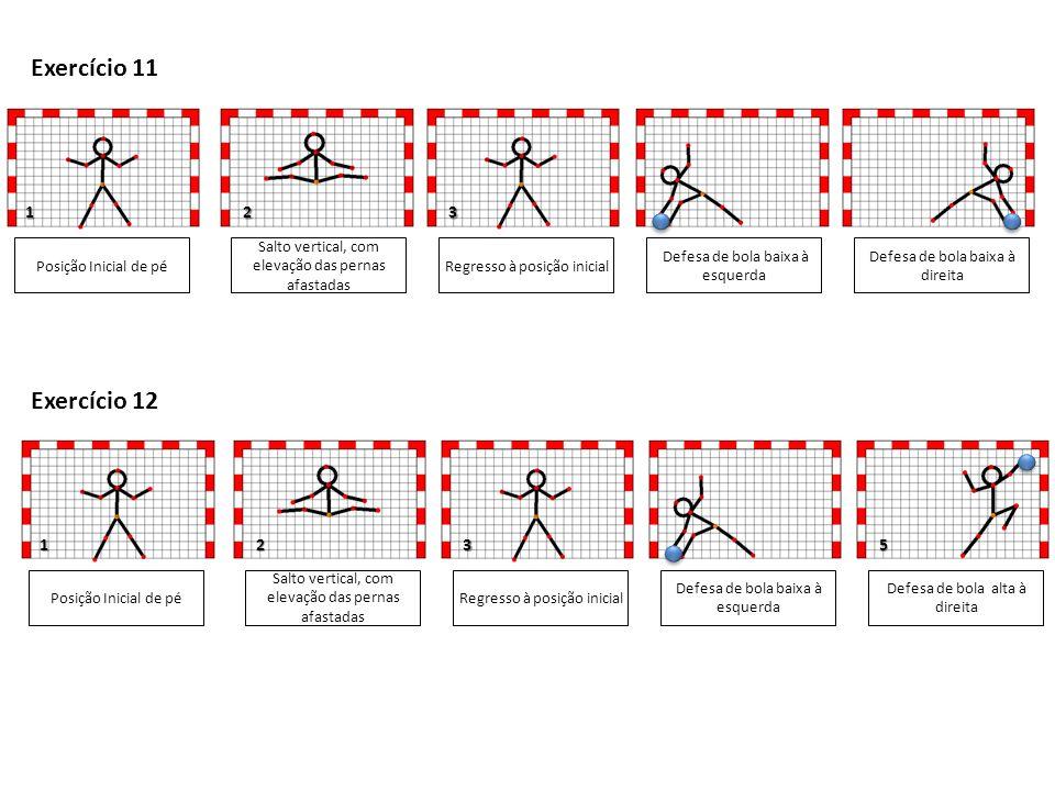 1 1 Posição Inicial de pé Salto vertical, com elevação das pernas afastadas Defesa de bola baixa à esquerda Defesa de bola baixa à direita 3 5 Exercício 11 Regresso à posição inicial Posição Inicial de pé Salto vertical, com elevação das pernas afastadas Defesa de bola baixa à esquerda Defesa de bola alta à direita 3 Exercício 12 Regresso à posição inicial 2 2