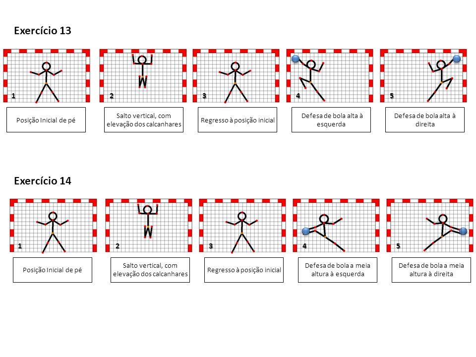 1 1 Posição Inicial de pé Salto vertical, com elevação dos calcanhares Defesa de bola baixa à esquerda Defesa de bola baixa à direita 3 5 Exercício 15 Regresso à posição inicial Posição Inicial de pé Salto vertical, com elevação dos calcanhares Defesa de bola baixa à esquerda Defesa de bola alta à direita 3 Exercício 16 Regresso à posição inicial 2 2