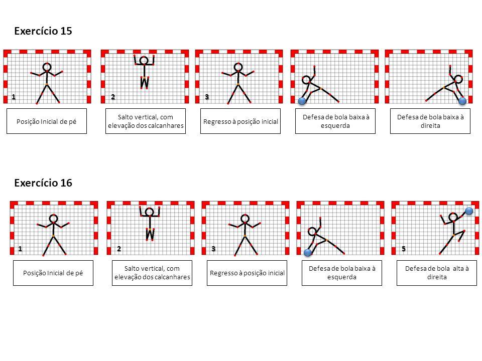1 4 1 Posição Inicial de pé Salto vertical, com elevação das pernas juntas Defesa de bola alta à esquerda Defesa de bola alta à direita 345 Exercício 17 Regresso à posição inicial Posição Inicial de pé Salto vertical, com elevação das pernas juntas Defesa de bola a meia altura à esquerda Defesa de bola a meia altura à direita 35 Exercício 18 Regresso à posição inicial 1 1