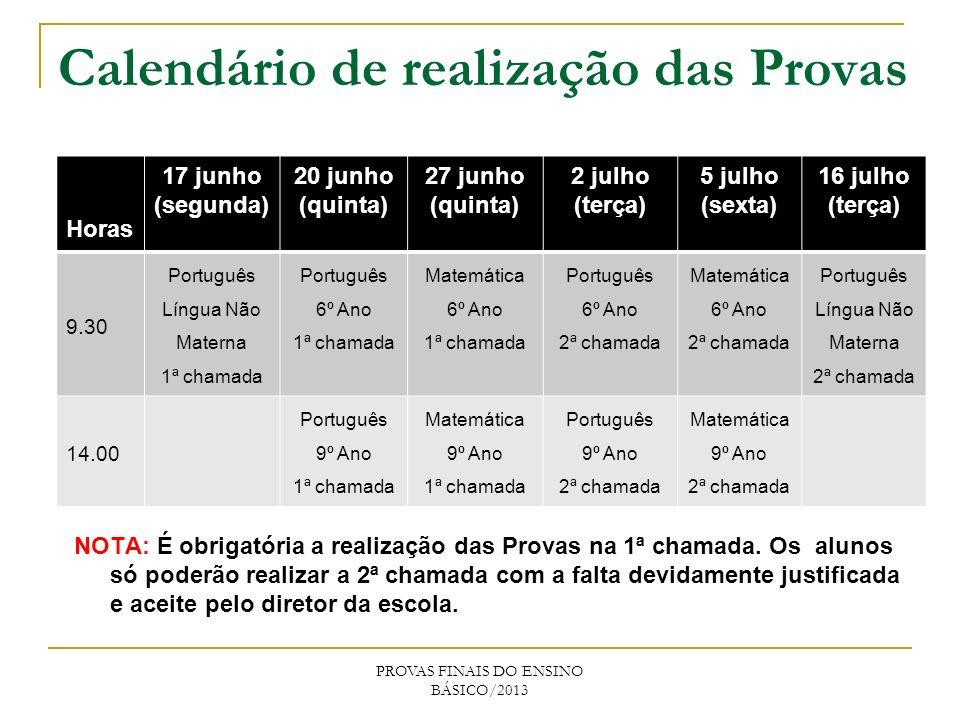Calendário de realização das Provas PROVAS FINAIS DO ENSINO BÁSICO/2013 Horas 17 junho (segunda) 20 junho (quinta) 27 junho (quinta) 2 julho (terça) 5 julho (sexta) 16 julho (terça) 9.30 Português Língua Não Materna 1ª chamada Português 6º Ano 1ª chamada Matemática 6º Ano 1ª chamada Português 6º Ano 2ª chamada Matemática 6º Ano 2ª chamada Português Língua Não Materna 2ª chamada 14.00 Português 9º Ano 1ª chamada Matemática 9º Ano 1ª chamada Português 9º Ano 2ª chamada Matemática 9º Ano 2ª chamada NOTA: É obrigatória a realização das Provas na 1ª chamada.