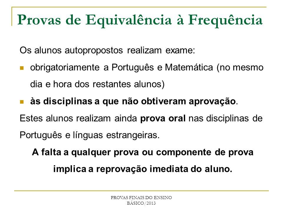 Os alunos autopropostos realizam exame: obrigatoriamente a Português e Matemática (no mesmo dia e hora dos restantes alunos) às disciplinas a que não