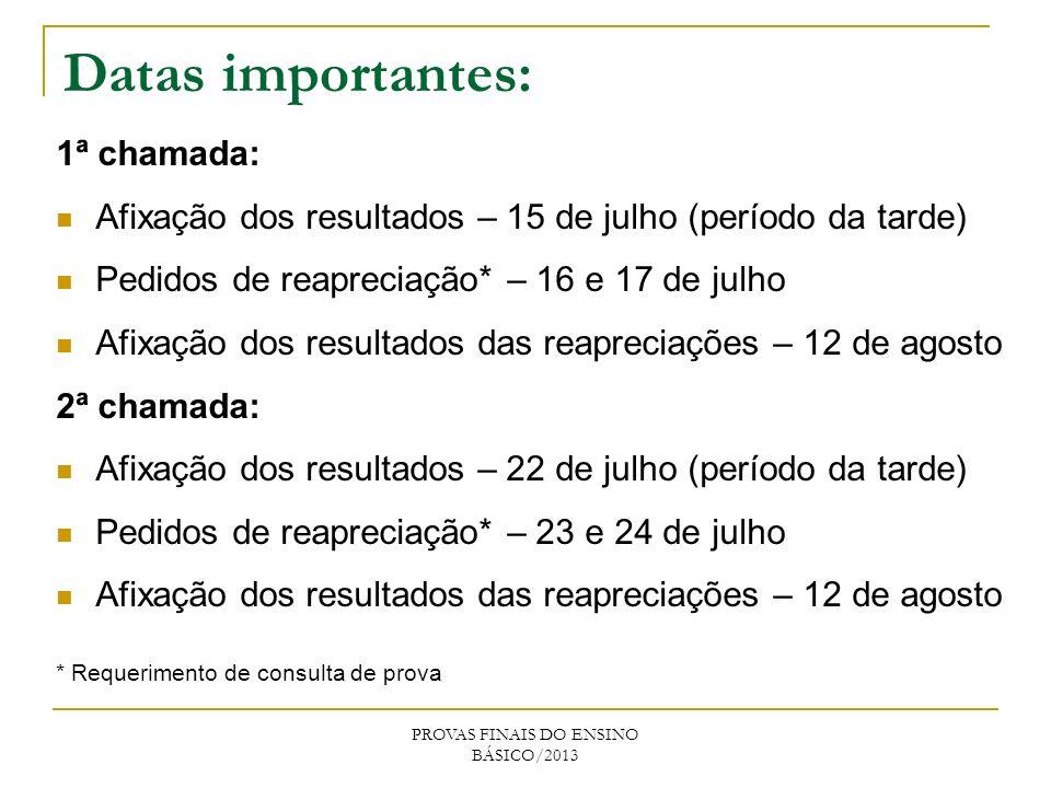 1ª chamada: Afixação dos resultados – 15 de julho (período da tarde) Pedidos de reapreciação* – 16 e 17 de julho Afixação dos resultados das reapreciações – 12 de agosto 2ª chamada: Afixação dos resultados – 22 de julho (período da tarde) Pedidos de reapreciação* – 23 e 24 de julho Afixação dos resultados das reapreciações – 12 de agosto * Requerimento de consulta de prova PROVAS FINAIS DO ENSINO BÁSICO/2013 Datas importantes: