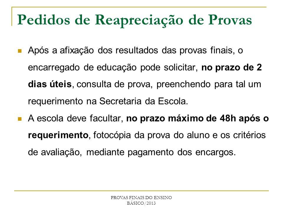Pedidos de Reapreciação de Provas Após a afixação dos resultados das provas finais, o encarregado de educação pode solicitar, no prazo de 2 dias úteis