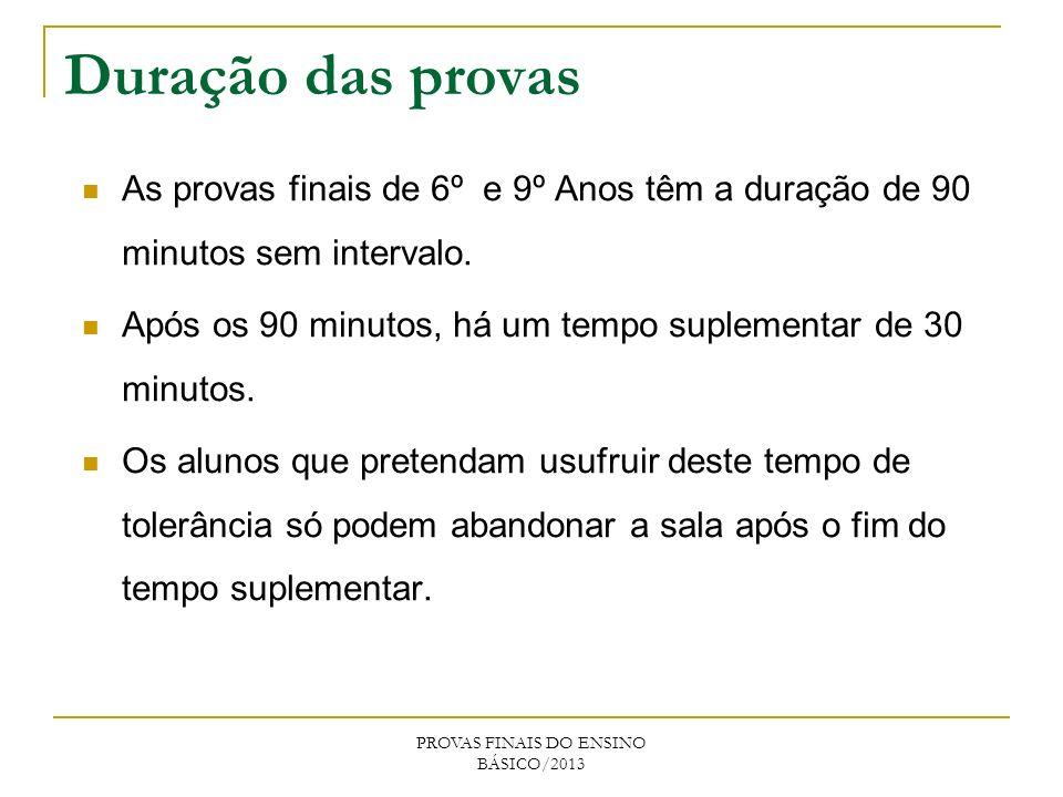 Duração das provas PROVAS FINAIS DO ENSINO BÁSICO/2013 As provas finais de 6º e 9º Anos têm a duração de 90 minutos sem intervalo. Após os 90 minutos,