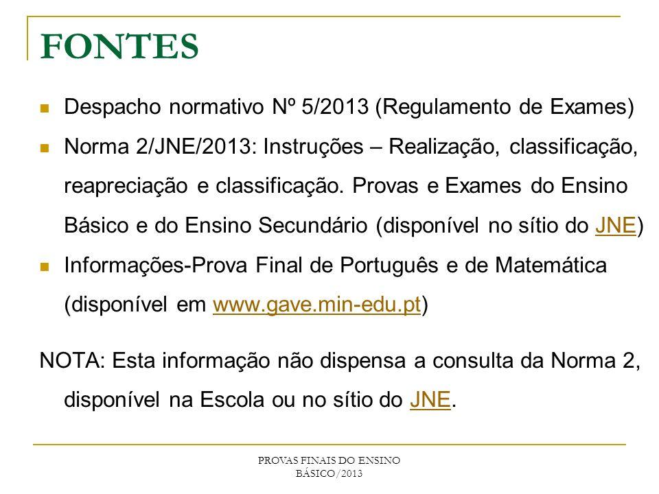 FONTES Despacho normativo Nº 5/2013 (Regulamento de Exames) Norma 2/JNE/2013: Instruções – Realização, classificação, reapreciação e classificação. Pr