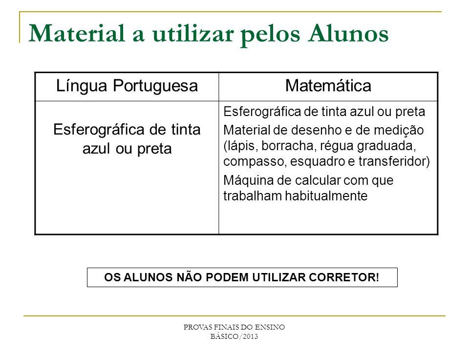 Material a utilizar pelos Alunos Língua PortuguesaMatemática Esferográfica de tinta azul ou preta Material de desenho e de medição (lápis, borracha, r