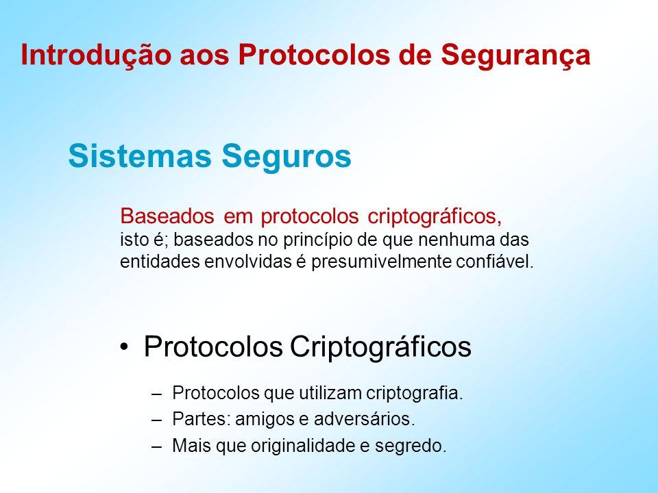 Introdução aos Protocolos de Segurança Sistemas Seguros Baseados em protocolos criptográficos, isto é; baseados no princípio de que nenhuma das entida
