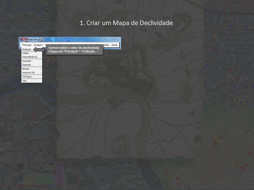 1. Criar um Mapa de Declividade Vamos exibir o vetor de declividade.