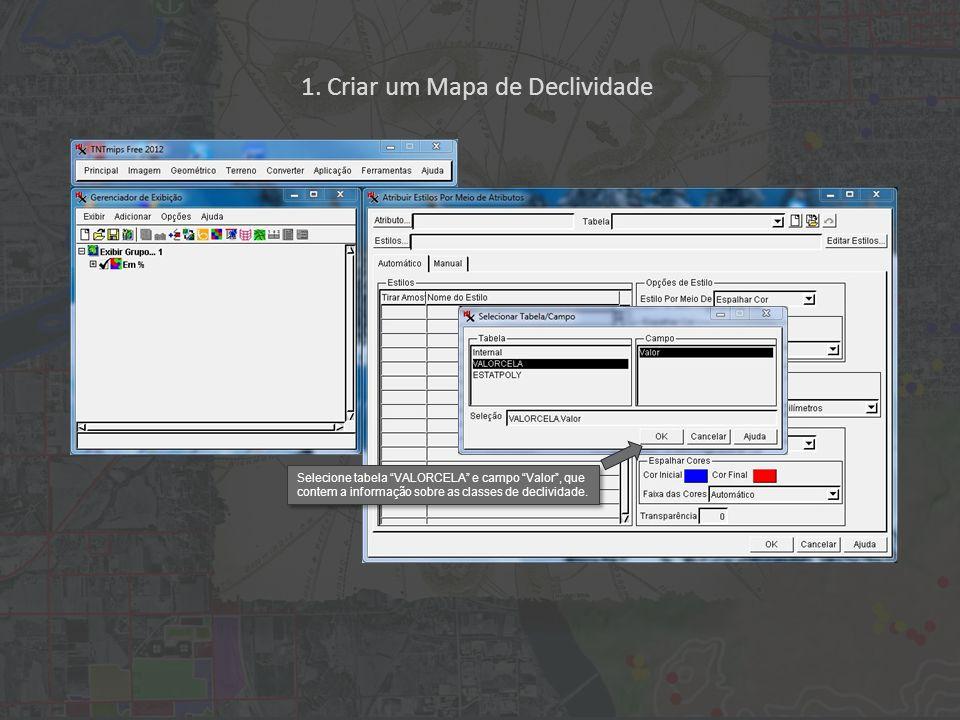 1. Criar um Mapa de Declividade Selecione tabela VALORCELA e campo Valor, que contem a informação sobre as classes de declividade.