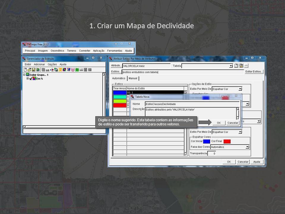 1. Criar um Mapa de Declividade Digite o nome sugerido. Esta tabela contem as informações de estilo e pode ser transferido para outros vetores.