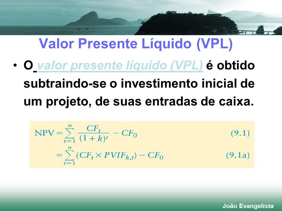 João Evangelista O valor presente líquido (VPL) é obtido subtraindo-se o investimento inicial de um projeto, de suas entradas de caixa. Valor Presente