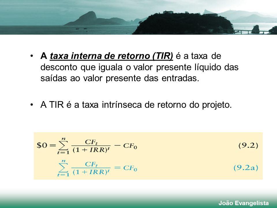 A taxa interna de retorno (TIR) é a taxa de desconto que iguala o valor presente líquido das saídas ao valor presente das entradas. A TIR é a taxa int
