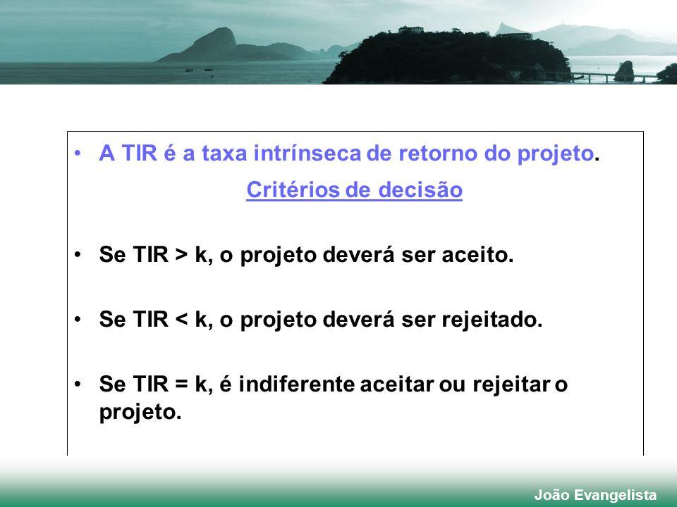 A TIR é a taxa intrínseca de retorno do projeto. Critérios de decisão Se TIR > k, o projeto deverá ser aceito. Se TIR < k, o projeto deverá ser rejeit