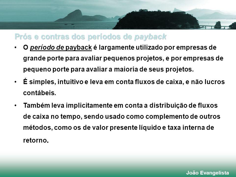 Prós e contras dos períodos de payback O período de payback é largamente utilizado por empresas de grande porte para avaliar pequenos projetos, e por