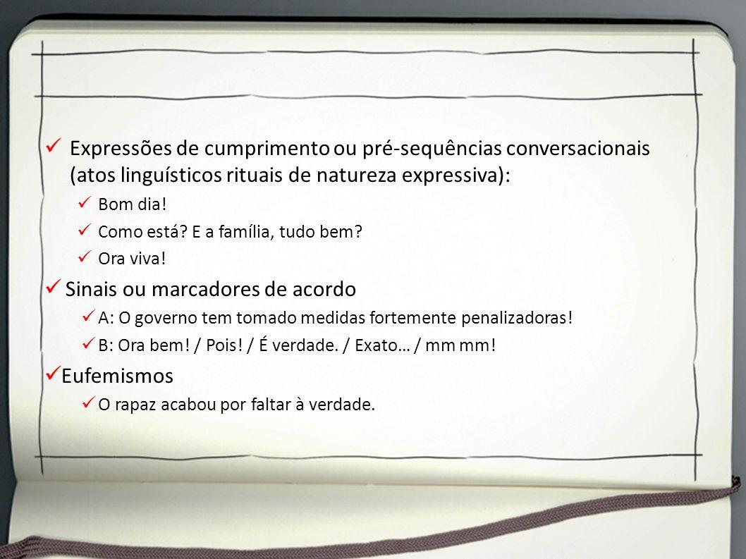 Expressões de cumprimento ou pré-sequências conversacionais (atos linguísticos rituais de natureza expressiva): Bom dia! Como está? E a família, tudo