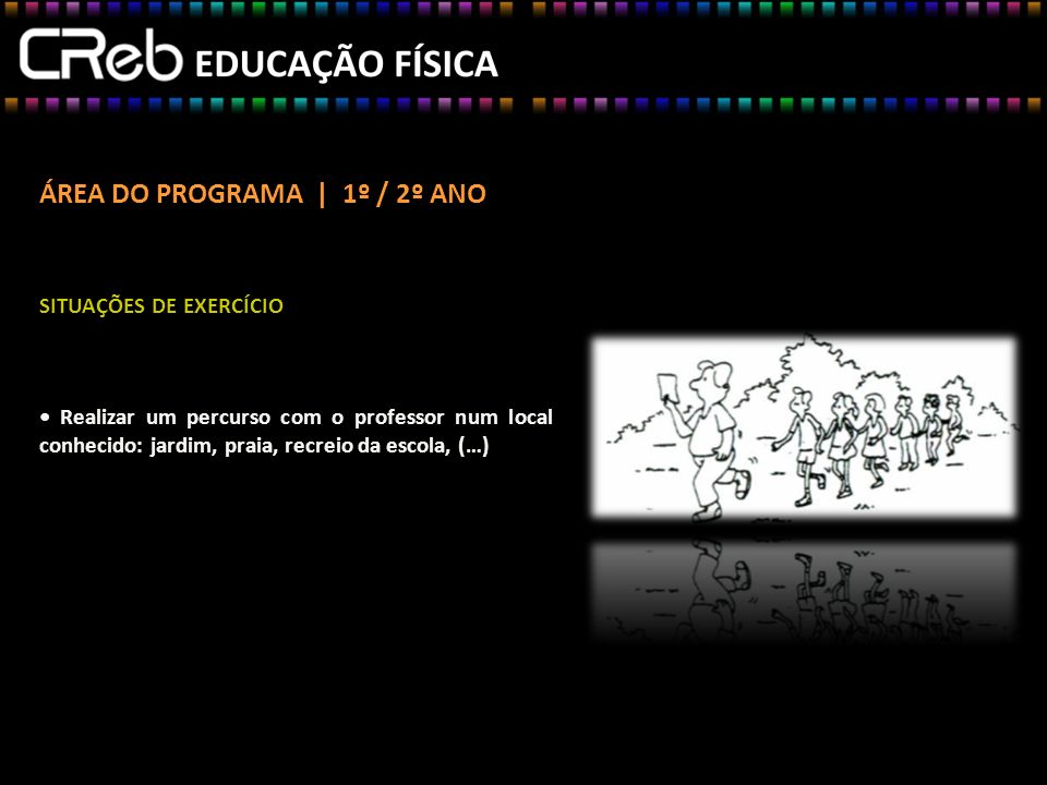 ÁREA DO PROGRAMA | 1º / 2º ANO SITUAÇÕES DE EXERCÍCIO Realizar um percurso com o professor num local conhecido: jardim, praia, recreio da escola, (…) SITUAÇÕES DE EXERCÍCIO Realizar um percurso com o professor num local conhecido: jardim, praia, recreio da escola, (…)