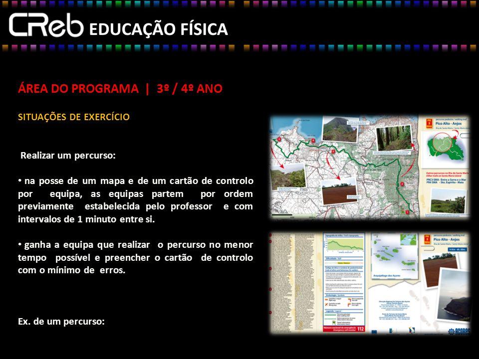 ÁREA DO PROGRAMA | 3º / 4º ANO SITUAÇÕES DE EXERCÍCIO Realizar um percurso: na posse de um mapa e de um cartão de controlo por equipa, as equipas part