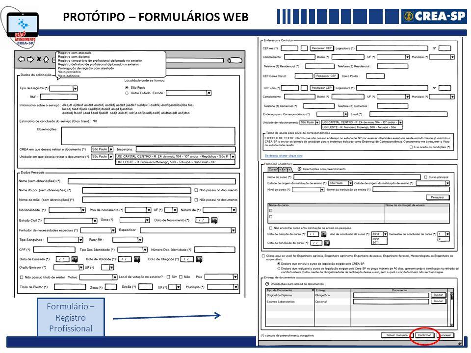 PROTÓTIPO – FORMULÁRIOS WEB Formulário – Registro Profissional