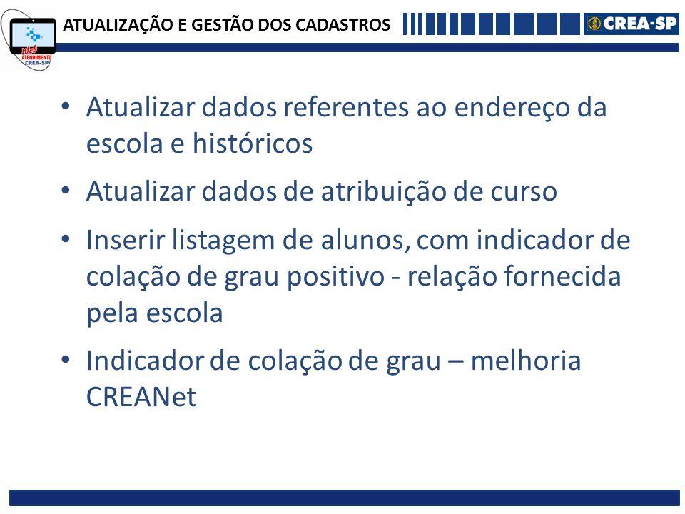 ATUALIZAÇÃO E GESTÃO DOS CADASTROS Atualizar dados referentes ao endereço da escola e históricos Atualizar dados de atribuição de curso Inserir listag
