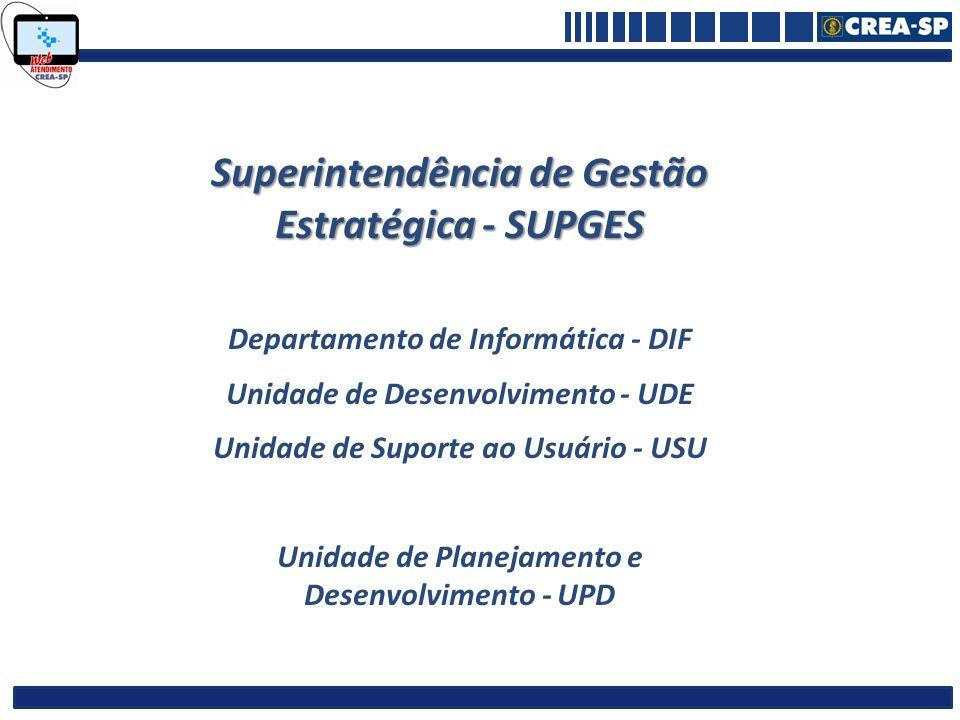 Superintendência de Gestão Estratégica - SUPGES Departamento de Informática - DIF Unidade de Desenvolvimento - UDE Unidade de Suporte ao Usuário - USU