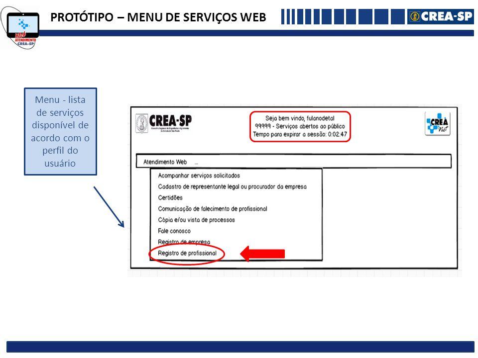 PROTÓTIPO – MENU DE SERVIÇOS WEB Menu - lista de serviços disponível de acordo com o perfil do usuário