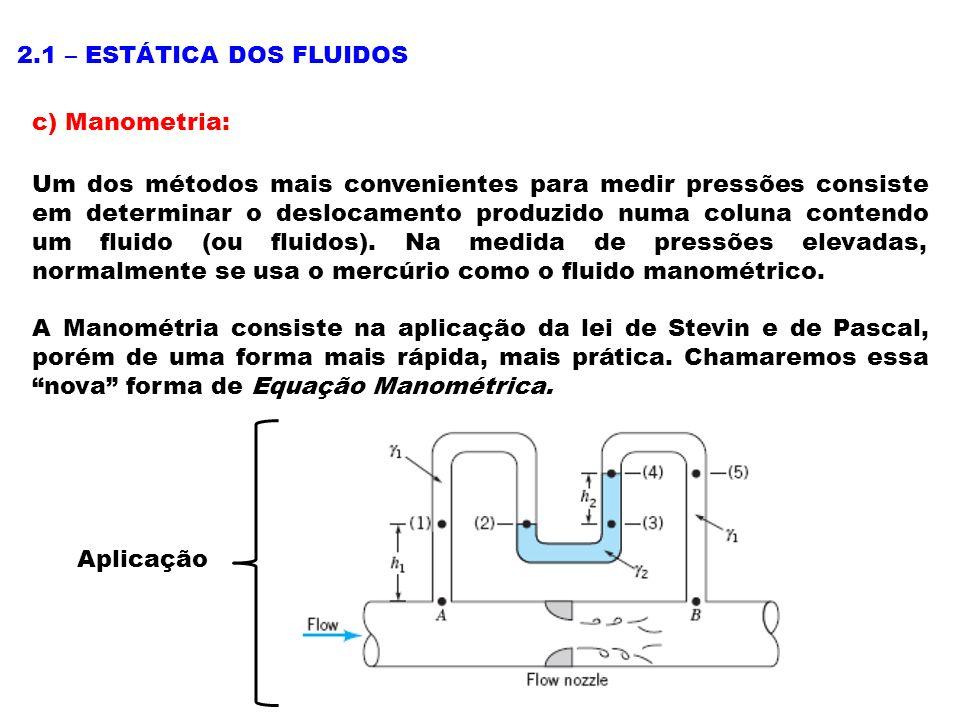 2.1 – ESTÁTICA DOS FLUIDOS c) Manometria: Um dos métodos mais convenientes para medir pressões consiste em determinar o deslocamento produzido numa coluna contendo um fluido (ou fluidos).