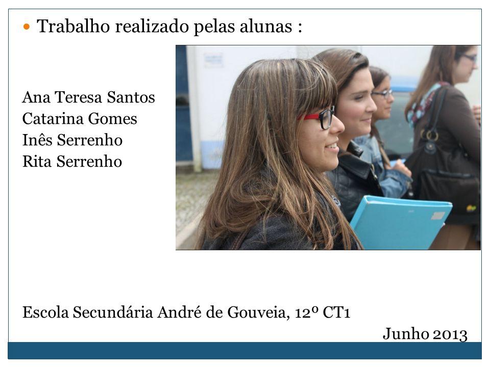 Trabalho realizado pelas alunas : Ana Teresa Santos Catarina Gomes Inês Serrenho Rita Serrenho Escola Secundária André de Gouveia, 12º CT1 Junho 2013