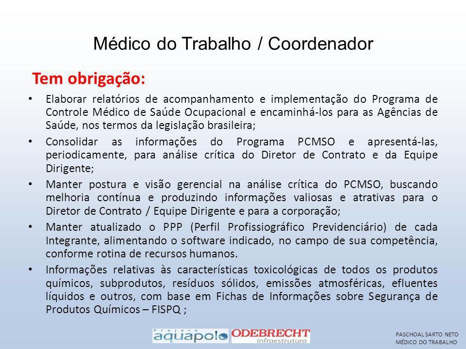 Médico do Trabalho / Coordenador Elaborar relatórios de acompanhamento e implementação do Programa de Controle Médico de Saúde Ocupacional e encaminhá