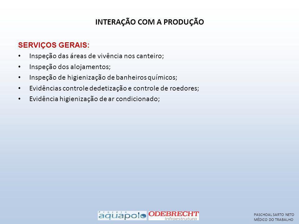 INTERAÇÃO COM A PRODUÇÃO SERVIÇOS GERAIS: Inspeção das áreas de vivência nos canteiro; Inspeção dos alojamentos; Inspeção de higienização de banheiros