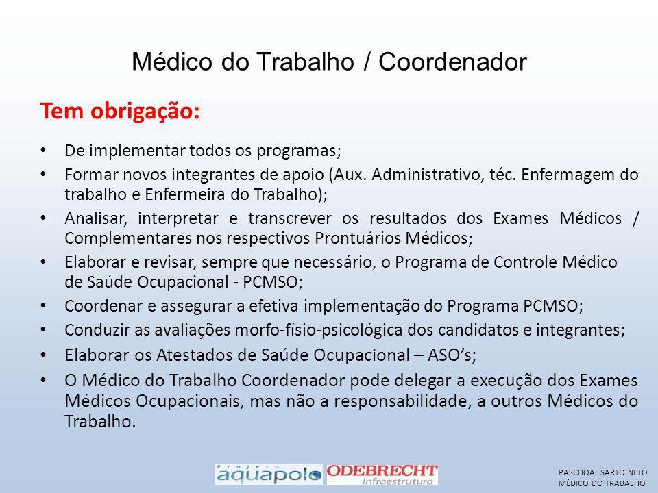 Médico do Trabalho / Coordenador De implementar todos os programas; Formar novos integrantes de apoio (Aux. Administrativo, téc. Enfermagem do trabalh