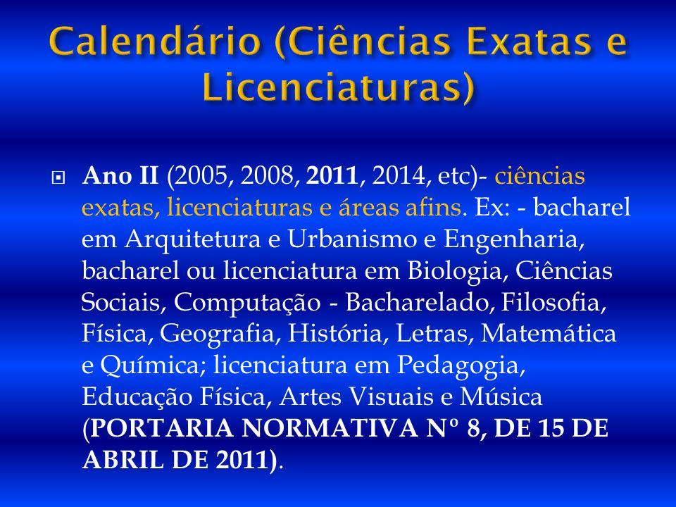 Ano II (2005, 2008, 2011, 2014, etc)- ciências exatas, licenciaturas e áreas afins. Ex: - bacharel em Arquitetura e Urbanismo e Engenharia, bacharel o