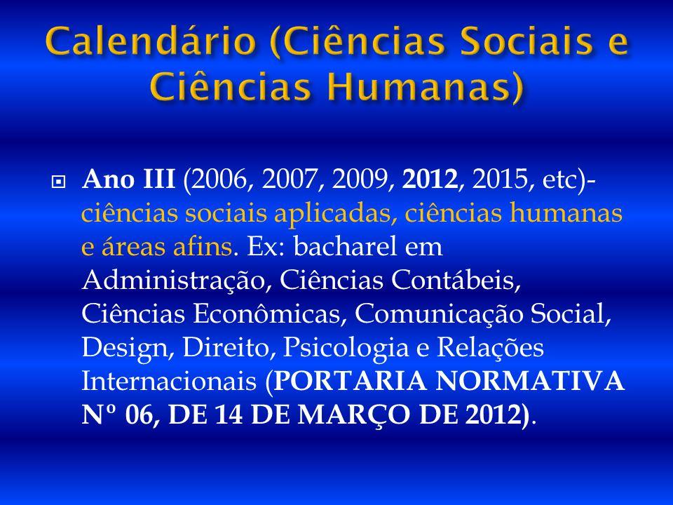 Ano III (2006, 2007, 2009, 2012, 2015, etc)- ciências sociais aplicadas, ciências humanas e áreas afins. Ex: bacharel em Administração, Ciências Contá