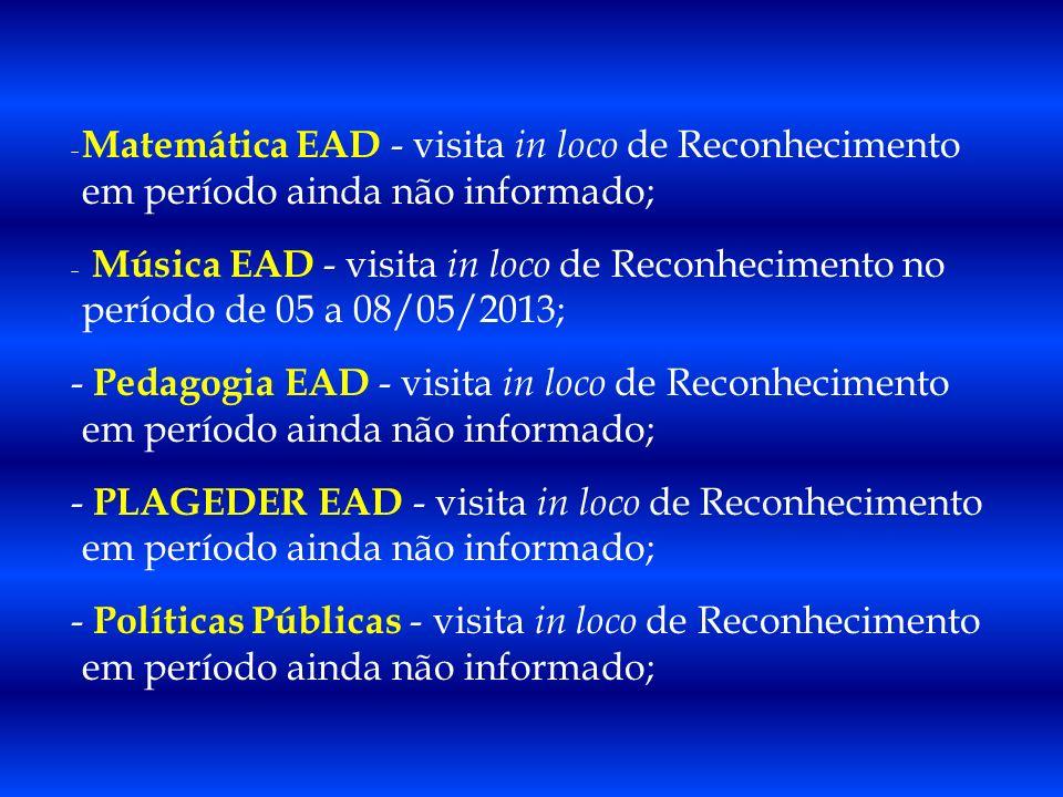 - Matemática EAD - visita in loco de Reconhecimento em período ainda não informado; - Música EAD - visita in loco de Reconhecimento no período de 05 a