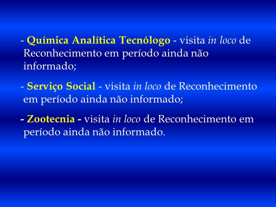 - Química Analítica Tecnólogo - visita in loco de Reconhecimento em período ainda não informado; - Serviço Social - visita in loco de Reconhecimento e