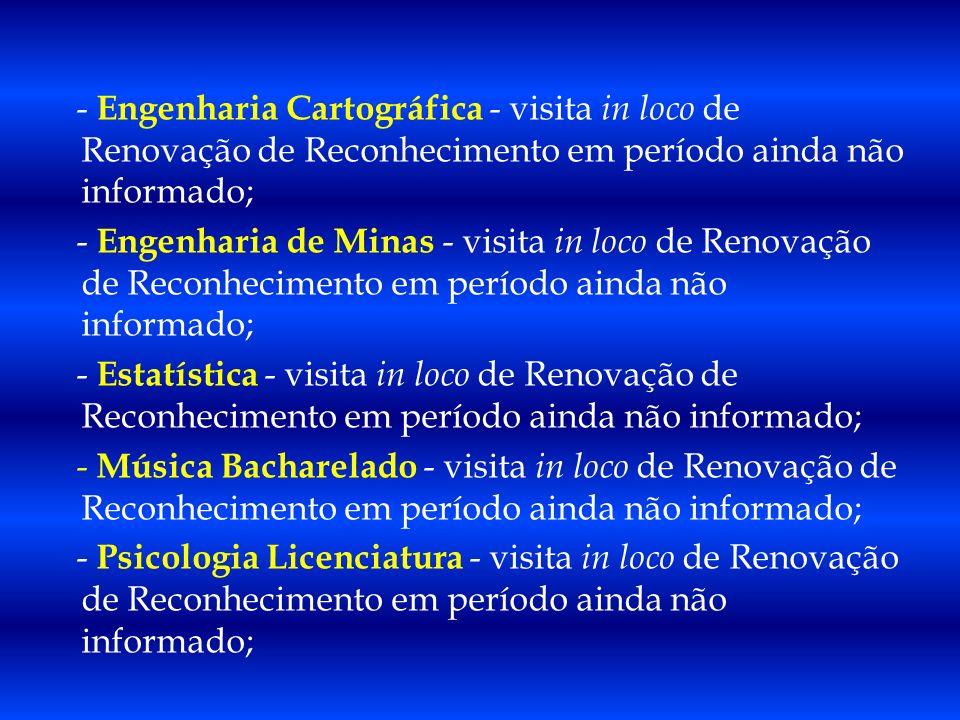 - Engenharia Cartográfica - visita in loco de Renovação de Reconhecimento em período ainda não informado; - Engenharia de Minas - visita in loco de Re