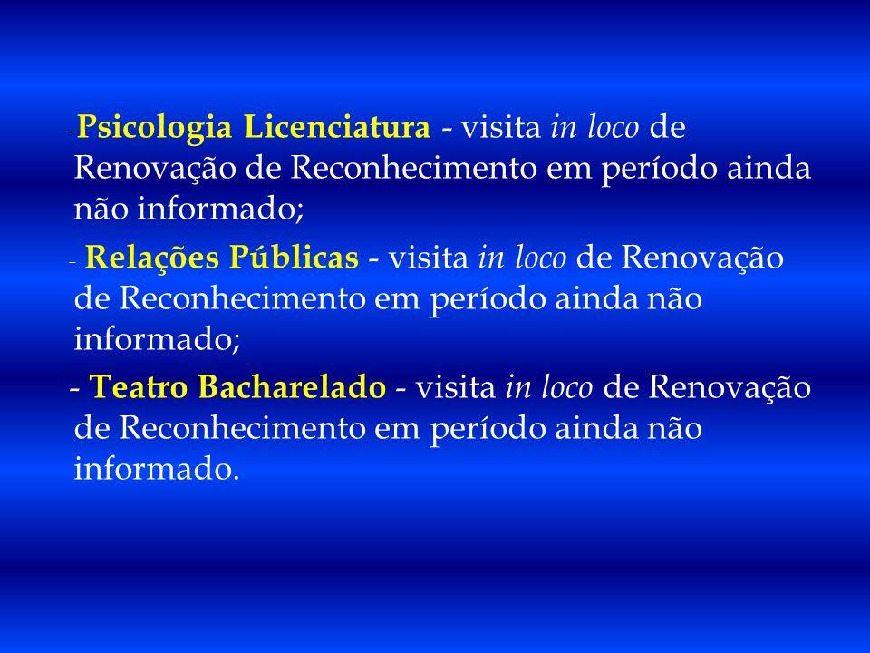 - Relações Públicas - visita in loco de Renovação de Reconhecimento em período ainda não informado; - Teatro Bacharelado - visita in loco de Renovação