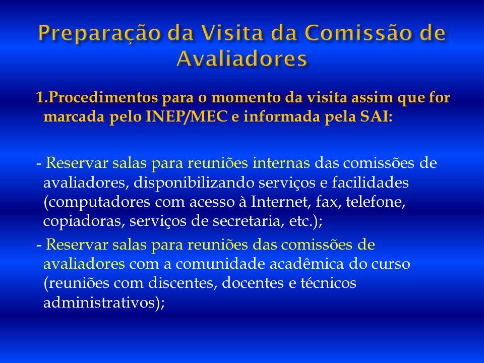 1.Procedimentos para o momento da visita assim que for marcada pelo INEP/MEC e informada pela SAI: - Reservar salas para reuniões internas das comissõ
