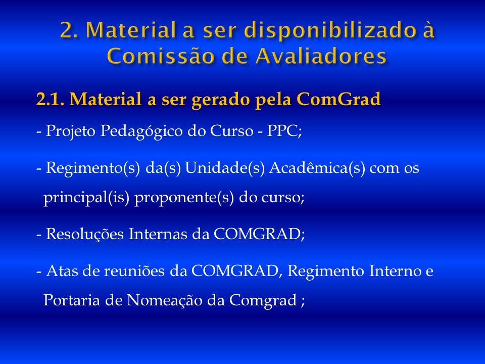 2.1. Material a ser gerado pela ComGrad - Projeto Pedagógico do Curso - PPC; - Regimento(s) da(s) Unidade(s) Acadêmica(s) com os principal(is) propone