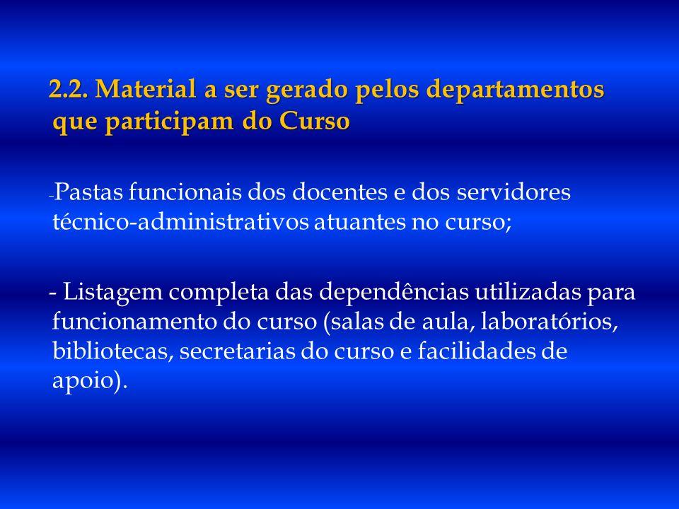 2.2. Material a ser gerado pelos departamentos que participam do Curso - Pastas funcionais dos docentes e dos servidores técnico-administrativos atuan