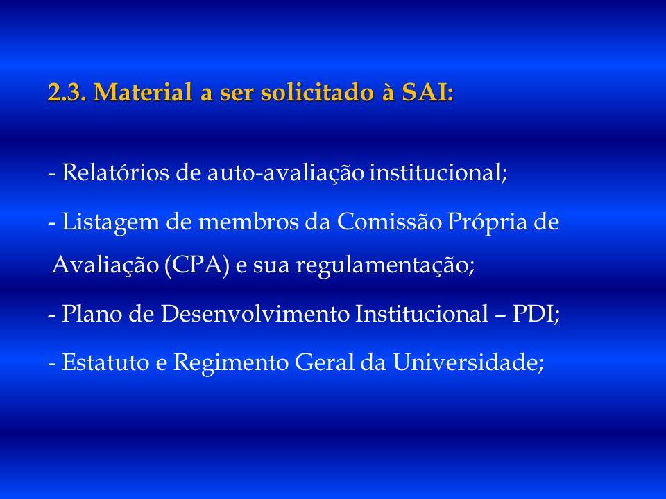 2.3. Material a ser solicitado à SAI: - Relatórios de auto-avaliação institucional; - Listagem de membros da Comissão Própria de Avaliação (CPA) e sua