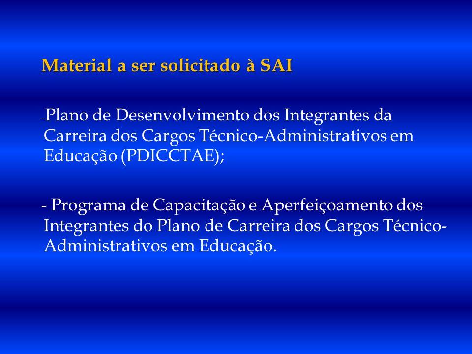 Material a ser solicitado à SAI - Plano de Desenvolvimento dos Integrantes da Carreira dos Cargos Técnico-Administrativos em Educação (PDICCTAE); - Pr
