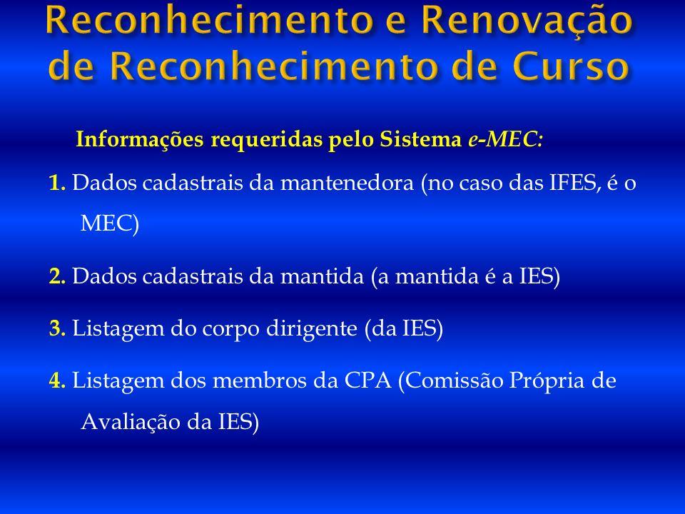 Informações requeridas pelo Sistema e-MEC: 1. Dados cadastrais da mantenedora (no caso das IFES, é o MEC) 2. Dados cadastrais da mantida (a mantida é