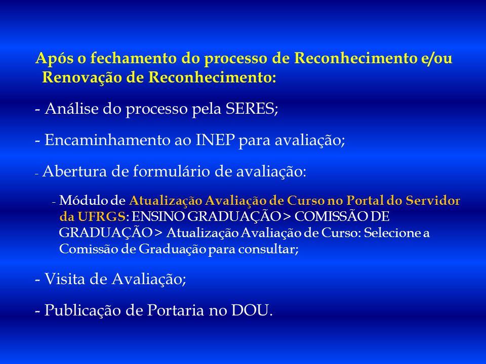 Após o fechamento do processo de Reconhecimento e/ou Renovação de Reconhecimento: - Análise do processo pela SERES; - Encaminhamento ao INEP para aval