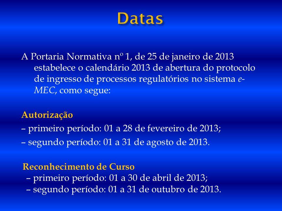 A Portaria Normativa nº 1, de 25 de janeiro de 2013 estabelece o calendário 2013 de abertura do protocolo de ingresso de processos regulatórios no sis